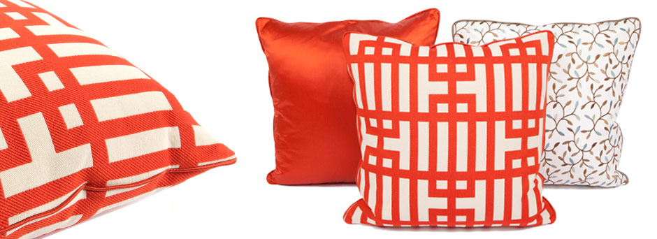 Archi-Grid, Spring Buds, Posh Flame Throw Pillows