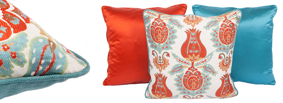 Belgium Tulip, Posh Flame, Posh Turquoise Throw Pillow
